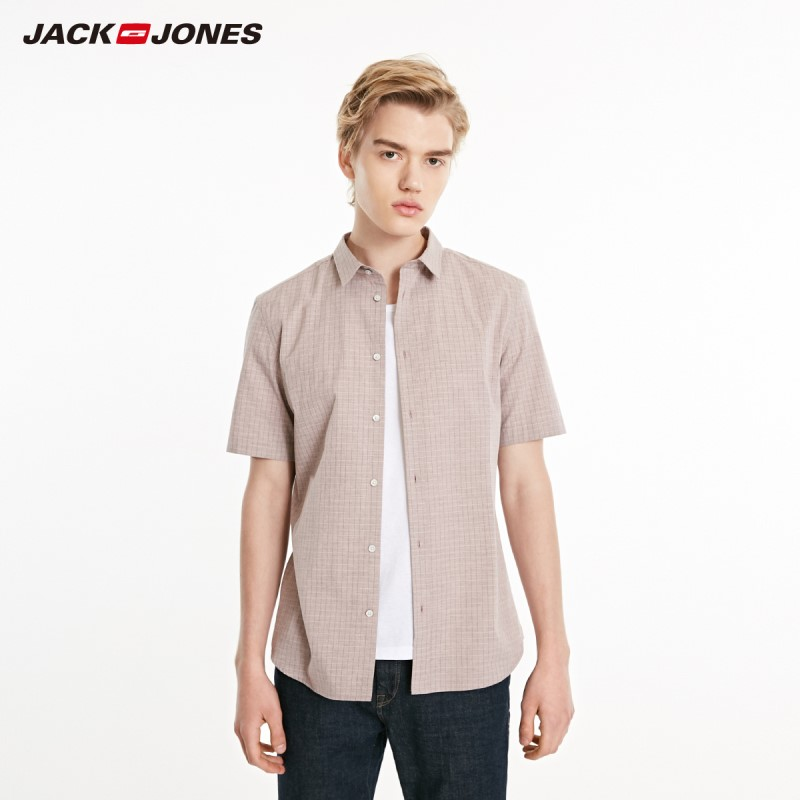 JackJones Men's Spring Slim Fit Plaid Pointed Collar Short-sleeved Shirt Menswear Style| 219104507