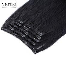 Neitsi aplique de cabelo remy em cabeça cheia, 100%, extensões de cabelo humano reto, 20