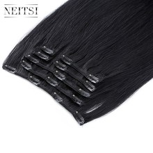 Neitsi Machine Made Remy Clip In On Hair Full Head 100% Straight Human Hair Extensions 20\