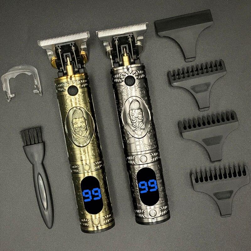 T машинка для стрижки волос близко к 0 мм триммер для волос для мужчин парикмахерские инструменты ЖК-дисплей автомат для резки Мужская бритва аккумуляторная беспроводная