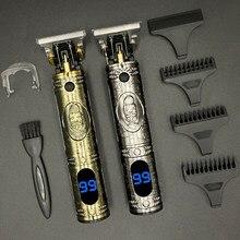 Cortadora de pelo T para hombre, máquina de corte de cabello masculina con pantalla LCD, recargable e inalámbrica, de 0mm