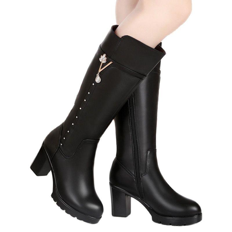 Купить женские зимние высокие сапоги новый стиль кожаные женские размер