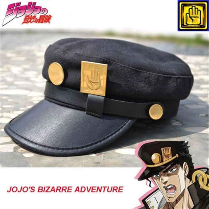 Anime JoJos Bizarre Adventure Accessoires Chapeau Jotaro Kujo Joseph Arm/ée Militaire JoJo Casquette Cosplay Adulte Badges,dor