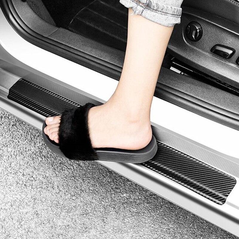 Car Door Sill Guard Sticker Film 4pcs Anti Scratch Carbon Scuff Pedal Guards Cover Door Sill Plate Fiber Sticker