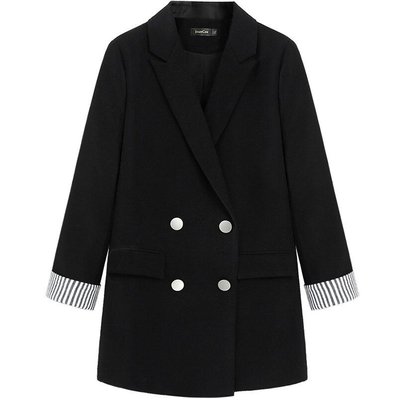 High Quality Casual Women's Jacket Large Size M-5XL 2019 Long Temperament Striped Long Sleeve Ladies Black Blazer Female Suit