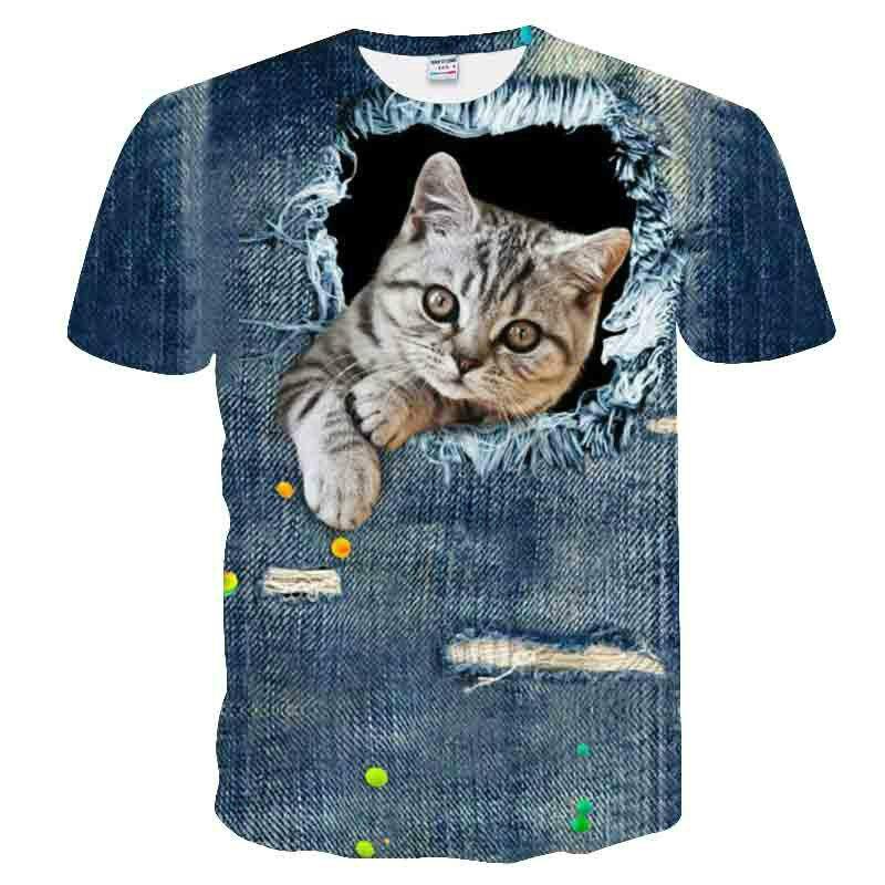 3D printing boy and girl summer T-shirt children's clothing, fashion street style, animal cat cartoon pattern T-shirt 2021