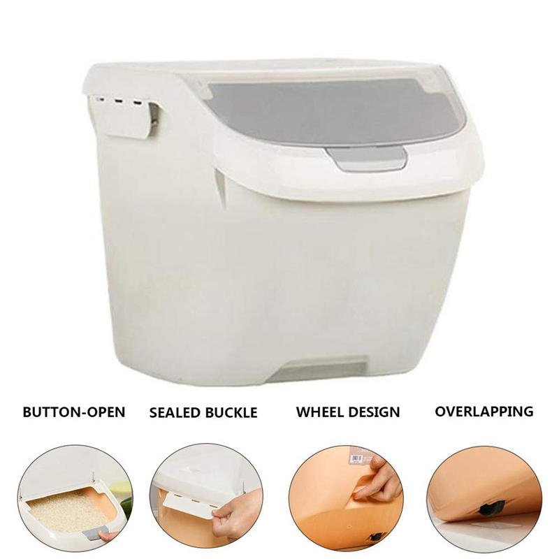 Rice Container Storage 10 KG/22 LBS, Cereal Containers With BPA Free Plastic And Airtight Design Suitable Gary
