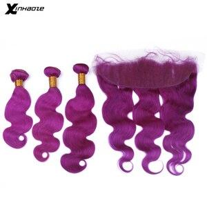 Цветные бразильские человеческие волосы, 3 пряди с застежкой, волосы Remy, волнистые пурпурпряди с кружевной передней частью, Детские волосы