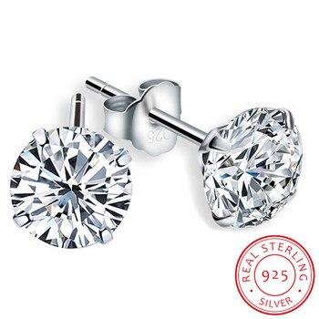 Роскошные женские круглые серьги с бриллиантами, 6/7/8 мм, 100% Настоящее серебро 925 пробы, женские маленькие серьги-гвоздики