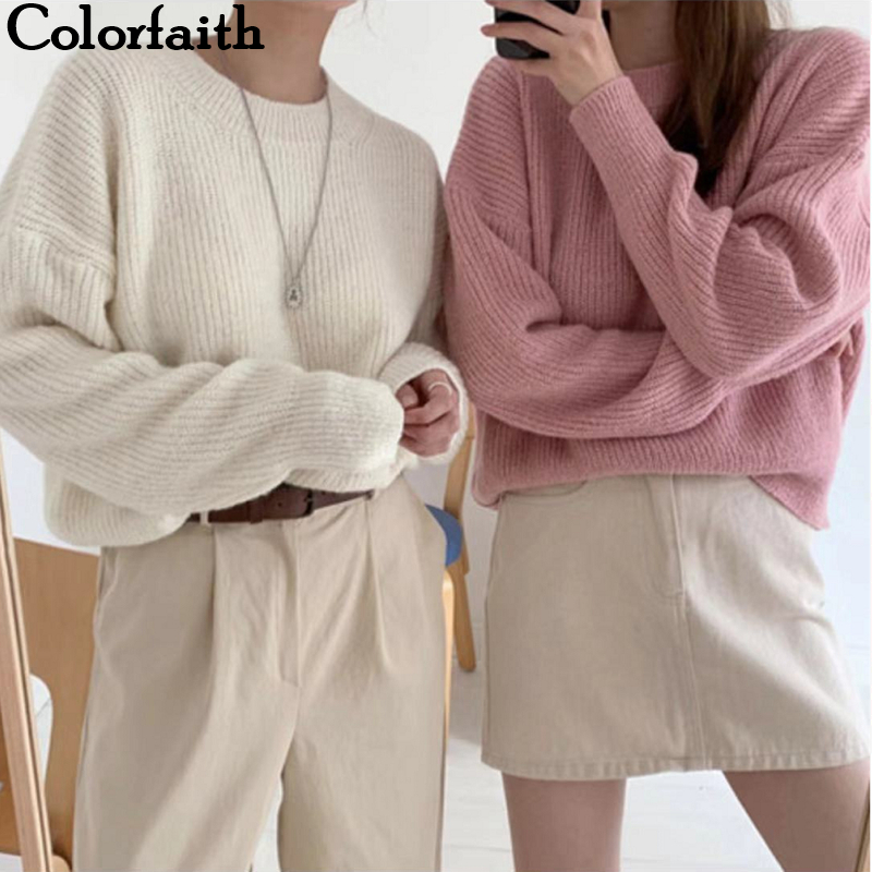 Colorfaith 2019 New Autumn Winter Women Sweater-pullovers Loose Casual Warm Minimalist Knitting Elegant Ladies Solid Tops SW8553