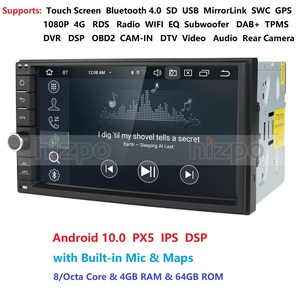 Image 1 - 8Core 4G+64G PX5 Android 10 2 Din Car radio Multimedia Video Player Universal auto Stereo GPS MAP For Volkswagen Nissan Hyundai