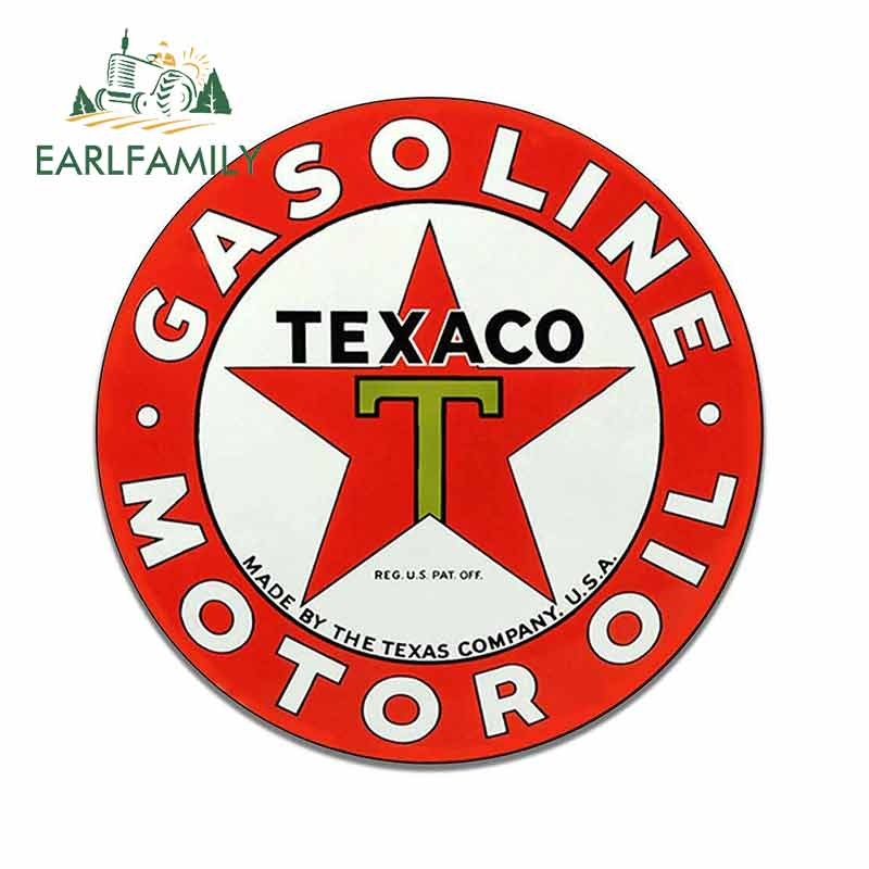 EARLFAMILY 13cm X 12.9cm For Texaco Motor Oil DIY Car Stickers Vinyl Material Decal Waterproof 3D Car Door Protector Decoration