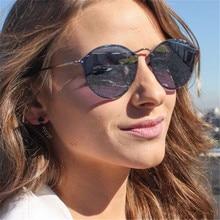 XojoX Round Sunglasses Women 2020 Mirror Pink Vintage Eyeglasses Female Rimless