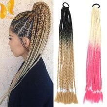 XINRAN 24 дюйма розовой радугой», вязаная крючком коса синтетический Хвостик Косы для наращивания волос Плетение шиньон с резинкой и ободки для...