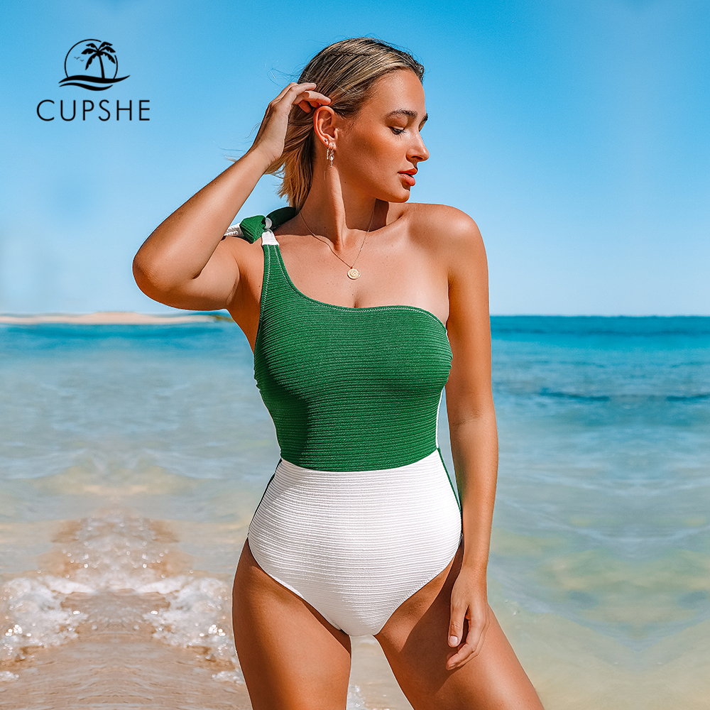 CUPSHE Green And White Colorblock One Shoulder One-Piece Swimsuit 2021 Women Tied Bow Monokini 2021 Beach Bathing Suits Swimwear