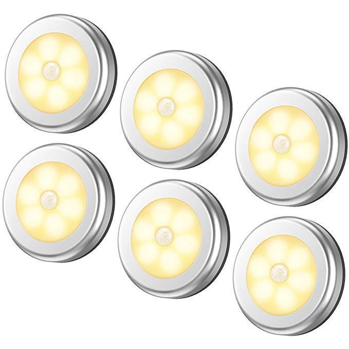 1Pcs 6LED PIR Körper Motion Sensor Wand Licht Led Nachtlicht Batterie für Schrank, Treppen, keller Flur Wand Schrank Luminarias