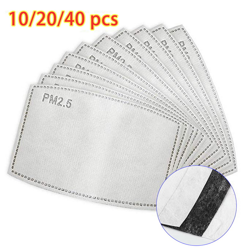 40 Pcs Lot For Kids/adult 5 Layers Pm2.5 Filter Paper Anti Haze Mouth Mask Non-woven Activated Carbon Filter Paper