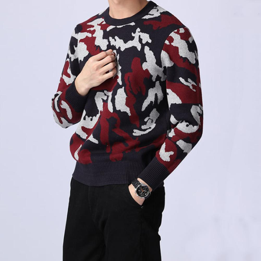 Kuegou Sweaters Men Camouflage Print Long Sleeve Round Neck Knit Sweater Pullover Top