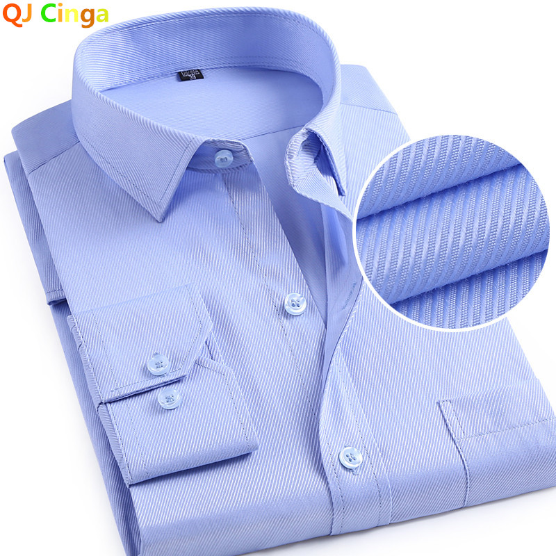 Purple Square Collar Twill Shirt Long Sleeve Single Breasted Cotton Shirt Wedding Party Slim Camisa/Chemise Big Size S-4XL 5XL