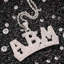 Hip-hop Style New Zircon ABM Alphabet Necklace Men And Women Wild Simple Gold-plated Pendant Jewelry(China)