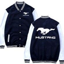 Mens Baseball Jacket Mustang Car Logo Printed Casual Hip Hop Harajuku Sweatshirt