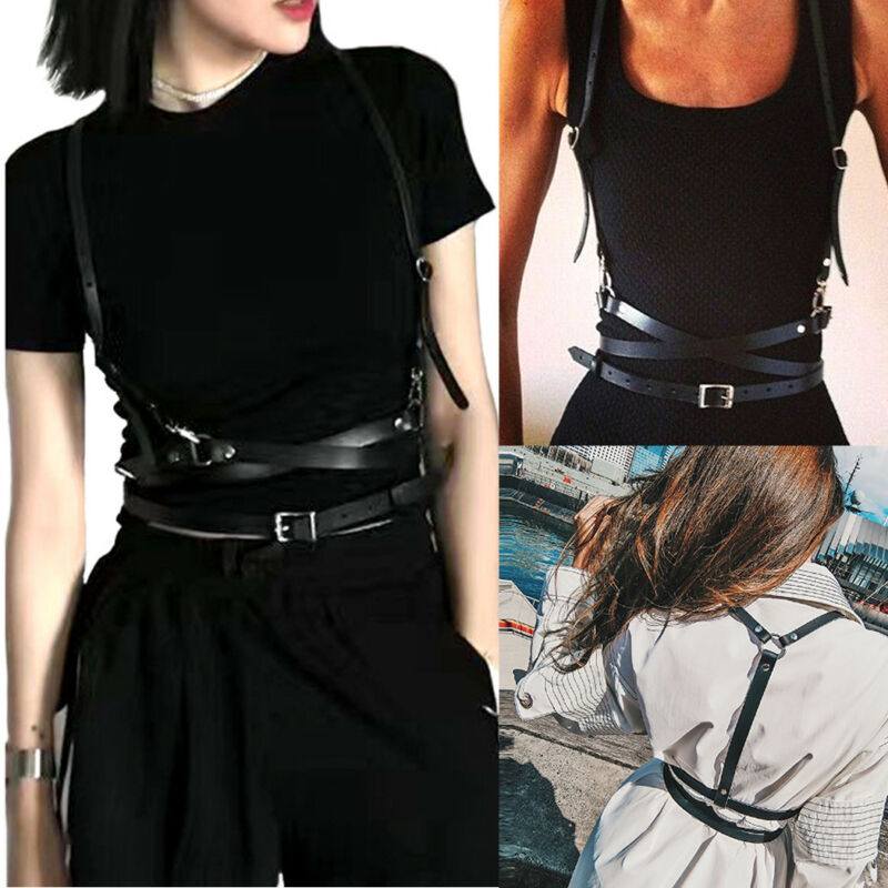 Faux Leather Cage Vest Chest Sculpting Body Harness Strap Waist Belt Cincher