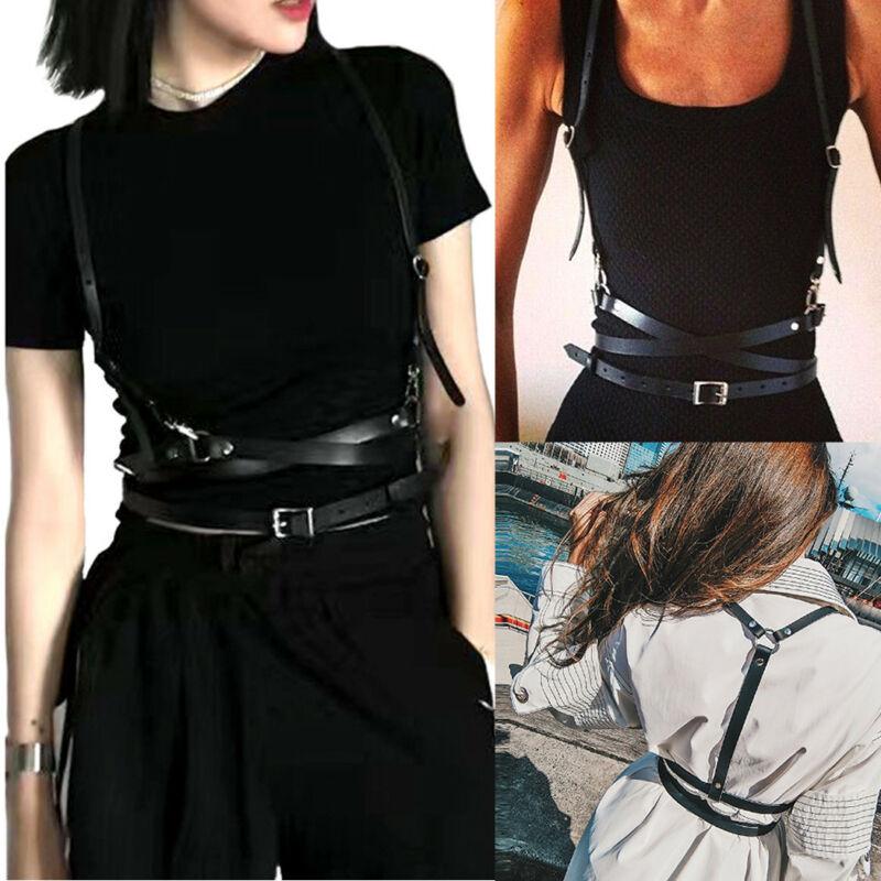 Faux Leather Cage Vest Chest Sculpting Body Harness Strap Waist Belt Cincher