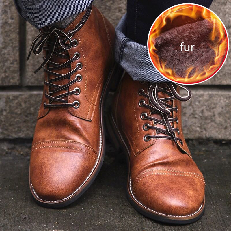 Ankle Boots Men Chelsea Boots Leather Pu Men Boots Plush Warm Winter Boots Men Shoes Plus Size 46 Male Shoes Adult Free Shipping