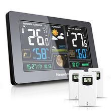 Newentor grande display estação meteorológica sem fio digital ao ar livre indoor higrômetro umidade temperatura previsão estação sensor