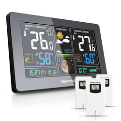 Newentor Large Display Weather Station Wireless Digital Indoor Outdoor Hygrometer Humidity Temperature Forecast Sensor Station