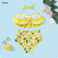 Mother and Daughter Swimsuit Yellow Lemon Printed Ruffled Bikini Set for Mom Daughter Family Matching Swimwear fashion mother daughter matching girl womens sleeveless palm leaves print swimwear children hat swimsuit bikini set