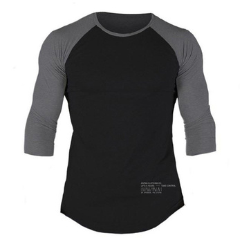 Men Casual Skinny T-shirt Cotton Shawl sleeve shirts Gyms Fitness Bodybuilding Workout Patchwork Tee Tops Male Crossfit Clothing - discount item  40% OFF Tops & Tees