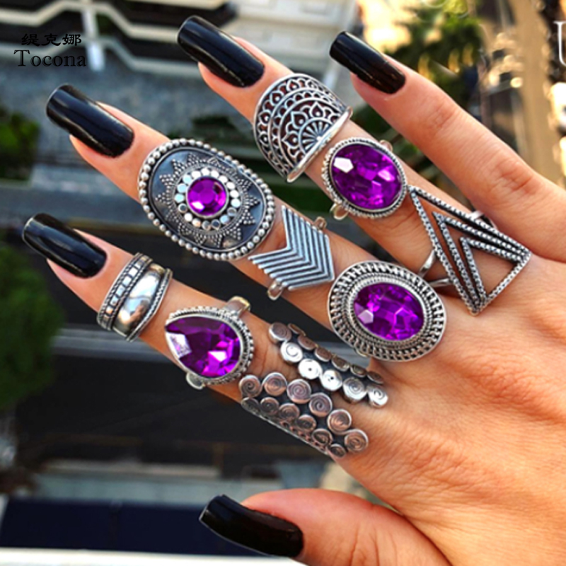 Tocona 9pcs/sets Purple Rhinestone Vintage Silver Color Rings for Women Flowers Geometry Bohemian Jewelry кольцо wedding 8261