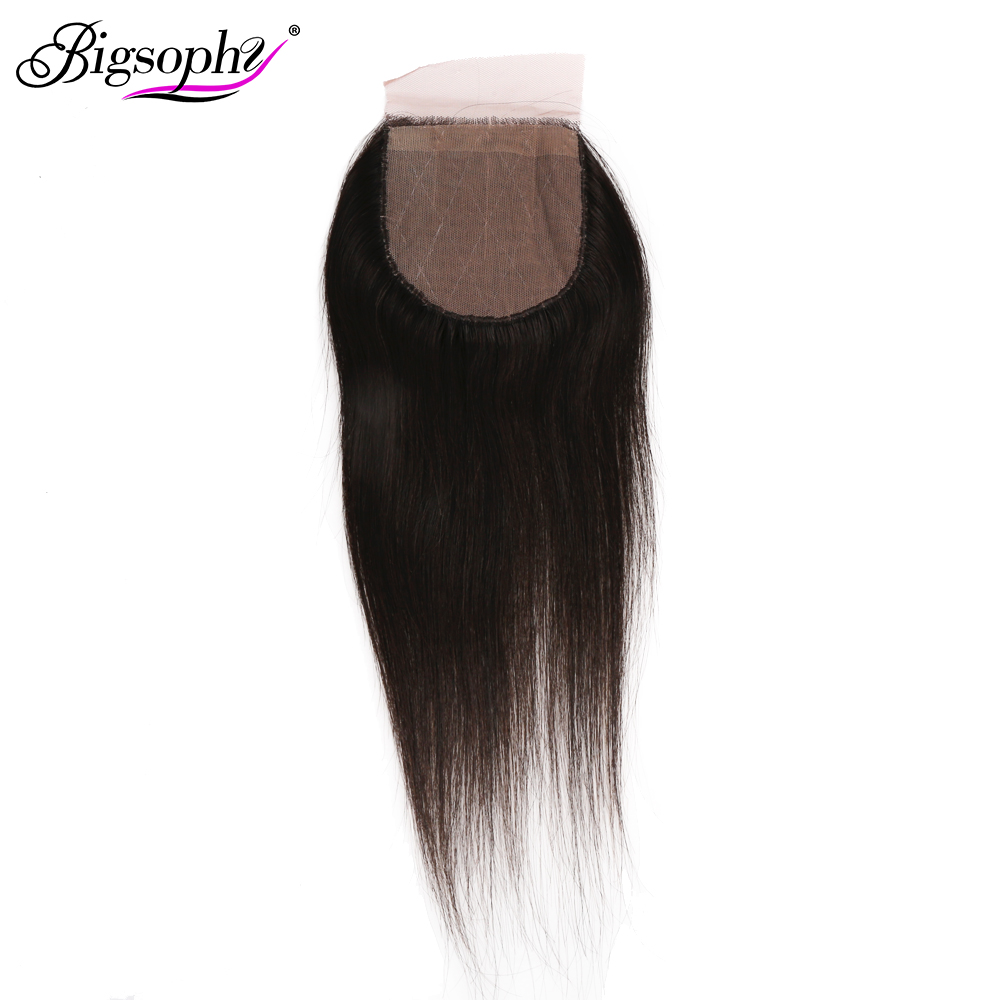 BIGSOPHY 4x4 HD Lace Silk Base Closure Straight Remy Peruvian Human Hair Silk Closure Free Part Bleached Knot Transparent Lace