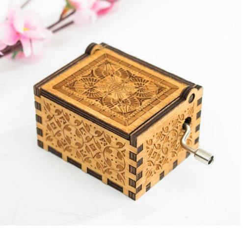 Wooden Hand Crank Harri Potter Music Box Bohemian Rhapsody Theme Game Of Thrones Digimon Beauty And The Beast Christmas Gift image