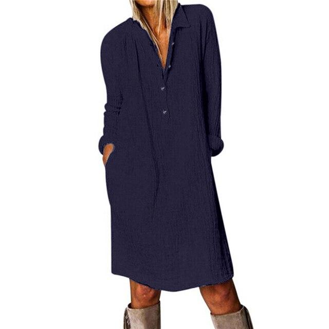 Cotton Linen Women Dress 2020 Spring Autumn Loose Plus Size Casual Vestidos Long Sleeve Nature Button Turn Down Collar Dresses 4