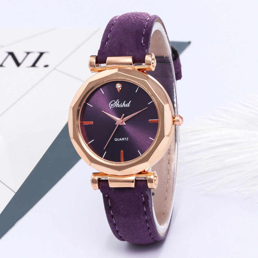 חם מהיר אופנה נשים עור מקרית שעון יוקרה אנלוגי קוורץ קריסטל שעוני יד קוורץ יד שעונים נשים ולנטיין מתנה # Q