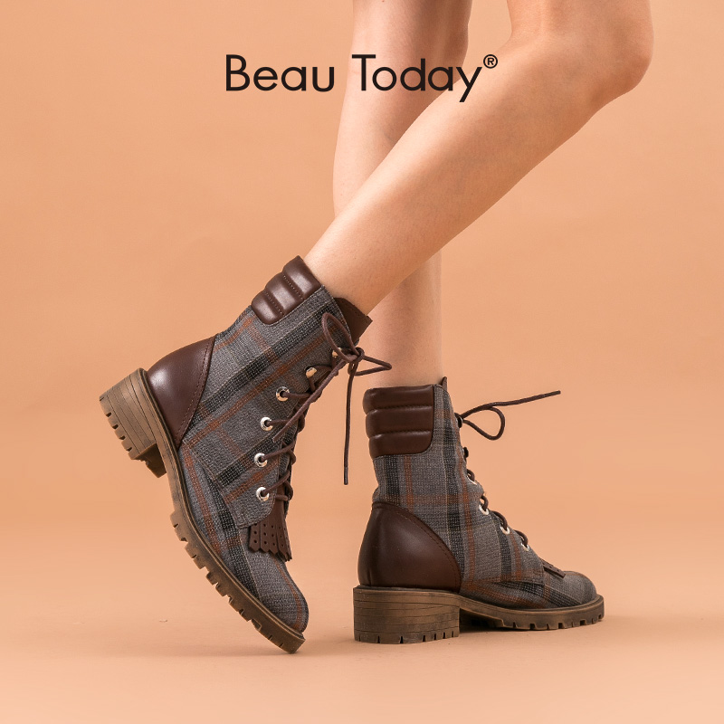 BeauToday Fashion Ankle Boots Women Genuine Cow Leather Plaid Cloth Tassel Round Toe Lace-Up Lady Ankle Boots Handmade 03299