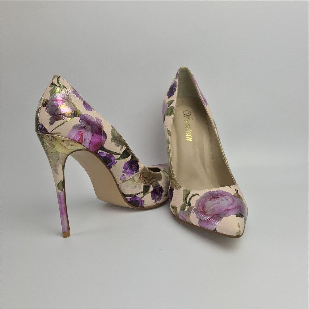 Image 3 - Women Pumps Hot Fashion Purple Flower Pointed Toe Thin High Heels  12CM Heels Pumps Good Quality 36 42 WENZHAN A99 6Womens Pumps   -