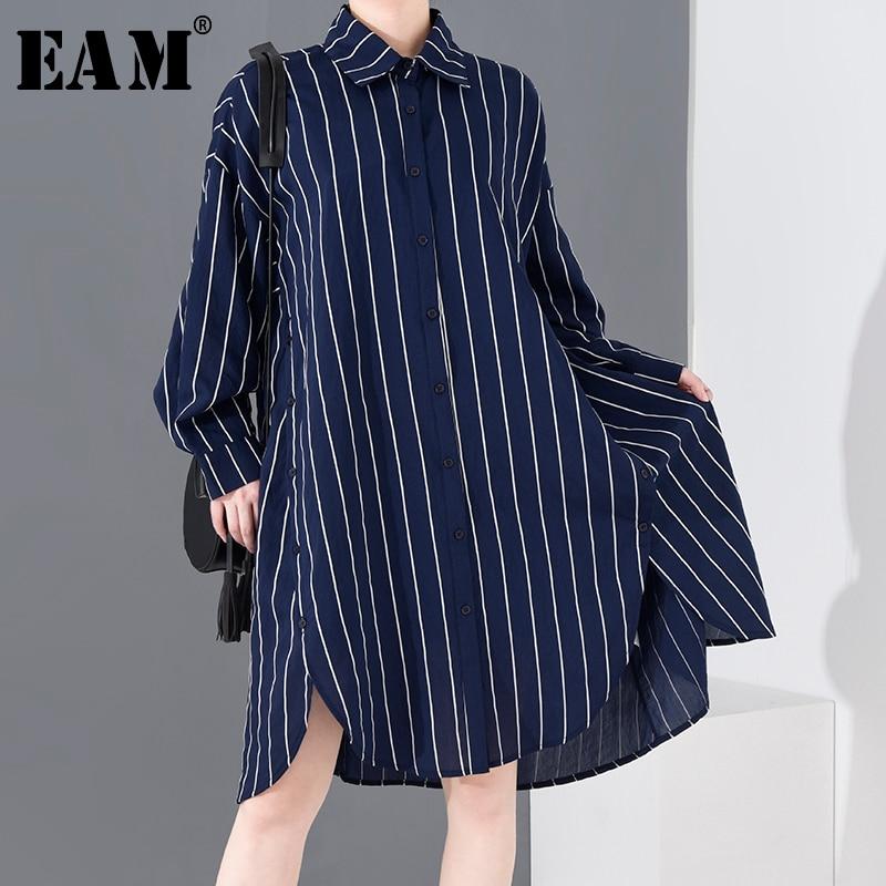 [EAM] Women Blue Striped Split Big Size Shirt Dress New Lapel Long Sleeve Loose Fit Fashion Tide Spring Summer 2020 1R20905