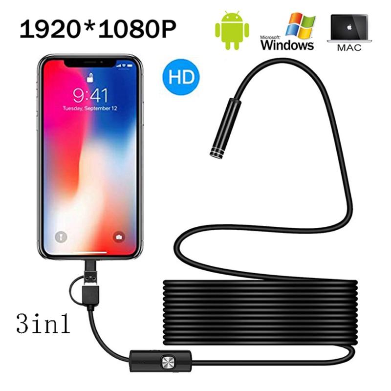 1080P Full HD USB Android Camera Endoscope IP67 1920 1080 1m 2m 5m Micro  Inspection Video Camera Snake Borescope Tube