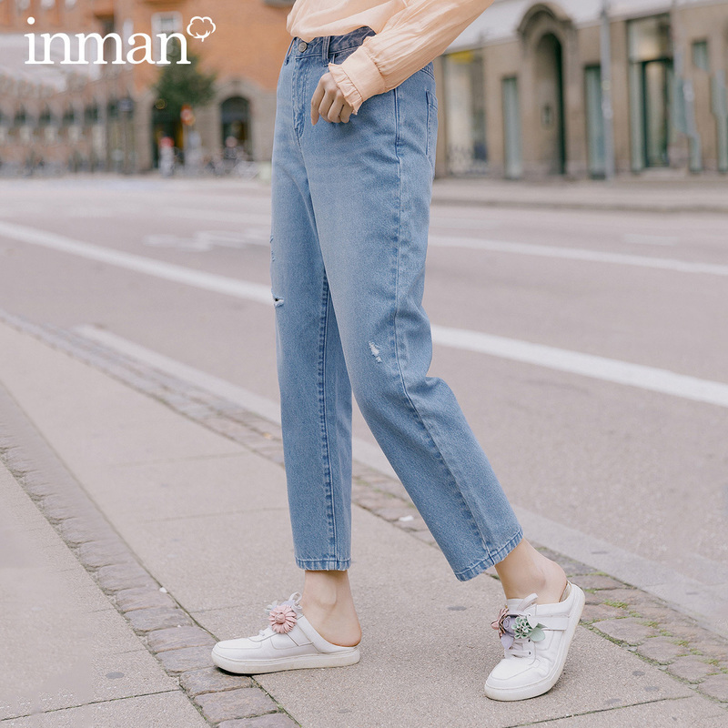 INMAN 2020 Spring New Arrival Pure Cotton High Waist Artsy Embroidery Vintage Unique Hole Women Fashion Pant Jeans