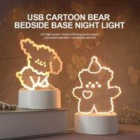 Lámpara LED de noche 3D con dibujos animados para niños, lámpara LED de noche 3D con dibujo de perro y oso, regalo luminoso de acrílico táctil para decoración de habitación de vacaciones