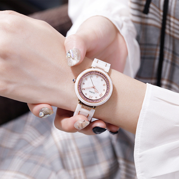OUPAI Luxury Colorful Diamond Ceramic Watch Fashion and Casual White Ceramic Watch Student Lady Anti Scrach Original Design
