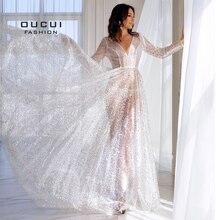 Oucui 우아한 스팽글 비치 웨딩 드레스 2020 화이트 빛나는 환상 Mariage Boho Vestido De Noiva 보헤미안 로브 통해보기
