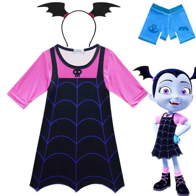 สาว Vampirina ชุดเด็ก COSPLAY แวมไพร์เครื่องแต่งกายสาวฮาโลวีนชุด Carnival PARTY ปลอมตัว Mask Headband