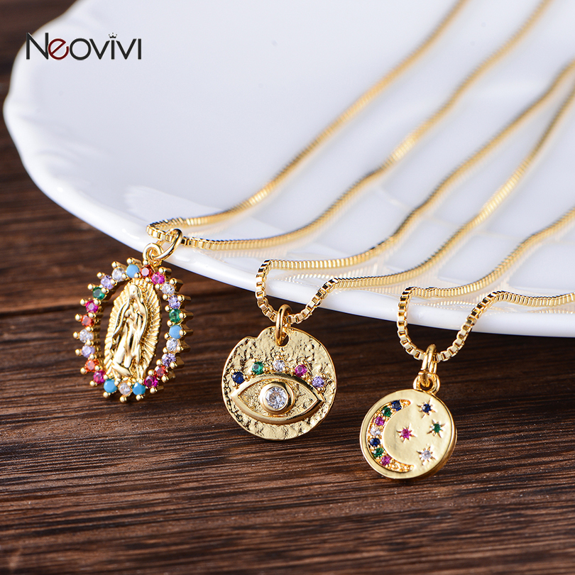 Neovivi Vintage Virgin Mary Turkish Eye Pendant Necklaces CZ Moon Star Choker Gold Round Necklace Long Chain Copper Jewelry Gift