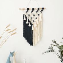 Bohemian Macrame Wall Hanging Tapestry Black White Geometric Boho Hand Woven Tapestries  Apartment Dorm Room Decoration