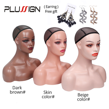Mannequin Head For Wig Display Realistic With Eyelashes Three Color Different Skin Model Shoulders