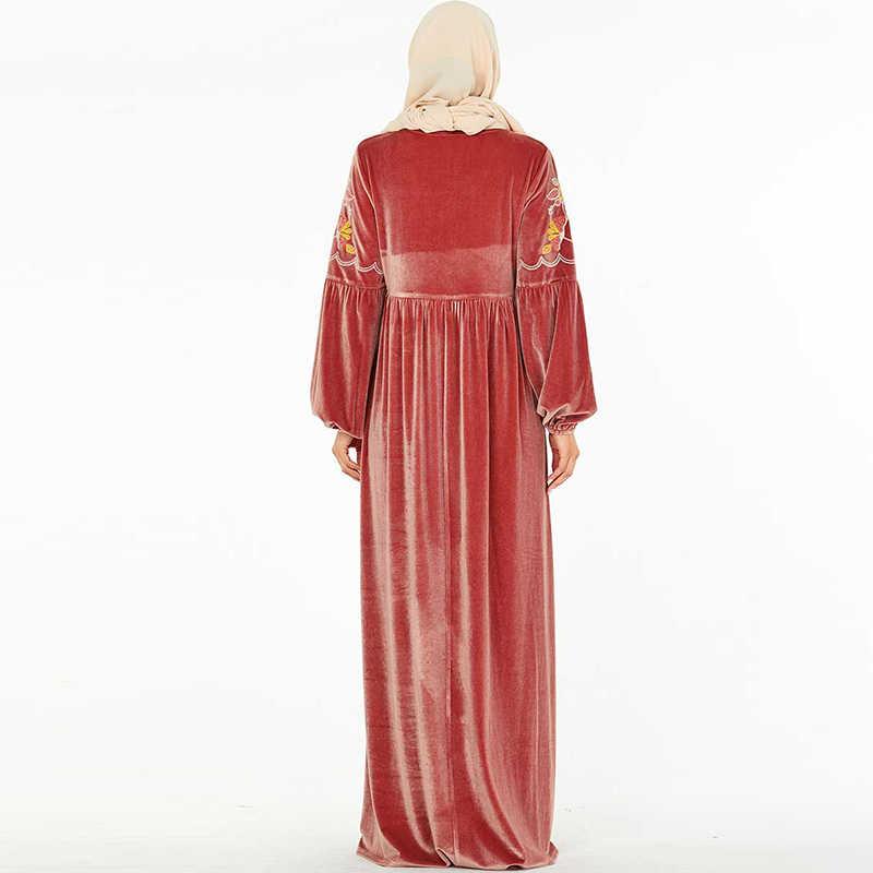 플러스 사이즈 겨울 벨벳 abaya 두바이 터키어 hijab 이슬람 드레스 여성을위한 이슬람 의류 caftan kaftan dresses robe kleding